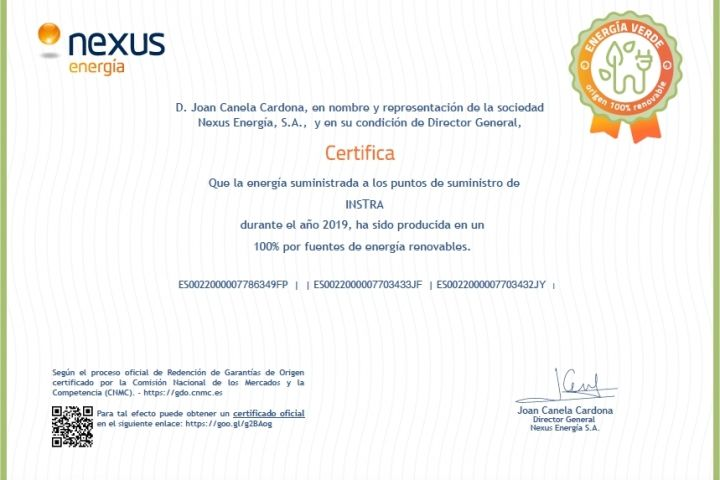 Instra gets the 100% renewable energy certificate